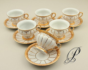 6 prunk mokkagedecke meissen x form porzellan porcelain. Black Bedroom Furniture Sets. Home Design Ideas