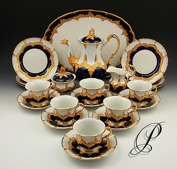 prunk kaffeeservice meissen b form kobaltblau mit prunkvergoldung porzellan porcelain. Black Bedroom Furniture Sets. Home Design Ideas