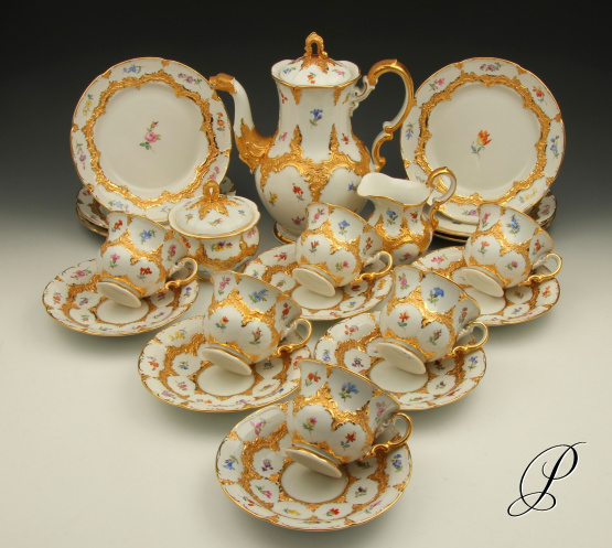 prunk kaffeeservice meissen b form mit streublume porzellan porcelain. Black Bedroom Furniture Sets. Home Design Ideas
