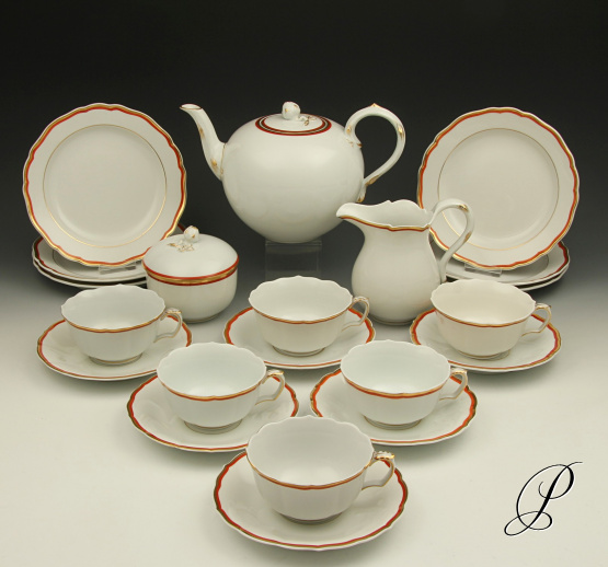 teeservice meissen koralle f r 6 personen porzellan porcelain. Black Bedroom Furniture Sets. Home Design Ideas