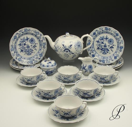 teeservice meissen zwiebelmuster f r 6 personen porzellan porcelain. Black Bedroom Furniture Sets. Home Design Ideas