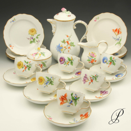 kaffeeservice meissen im dekor blume2 porzellan porcelain. Black Bedroom Furniture Sets. Home Design Ideas