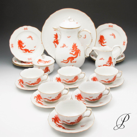 teeservice f r 6 personen meissen im dekor mingdrache rot mit goldrand porzellan porcelain. Black Bedroom Furniture Sets. Home Design Ideas